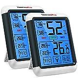 ThermoPro TP55 digitales Thermo-Hygrometer Innen Thermometer Hygrometer Temperatur- und Luftfeuchtigkeitmessgerät mit Indikator 2er Set für Raumklimakontrolle