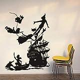 Peter Pan Piratenschiff Kinder Wandtattoo Zimmer Junge Traum Cartoon Vinyl Wasserdicht Home Wandaufkleber Wallpaper A5 54X42cm
