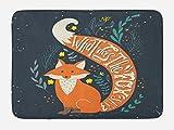 Ambesonne Vintage Badematte, What Does The Fox Say?, Hipster Animals Know Better Habitat Creature Illustration, Plüsch-Badezimmerdekormatte mit rutschfester Unterseite, 74,9 x 44,5 cm, Orange Charcoal