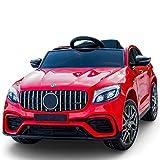 PBTRM Elektro Kinderauto, Auto Elektrofahrzeug Kinder Max 8 Km/H Mit Federung Musikalische Sicherheitsverriegelung, Rot