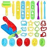 Ucradle 28 Stück Knetwerkzeug Teig Plastilin Werkzeuge, Vielseitiges Knete Werkzeug Kinder Knete Zubehör Spielzeug, Ausstechformen Extruder Küchenspielzeug Modellierwerkzeug Knetwerkzeugset Geschenk