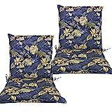 diMio Auflagen für Gartenstuhl Terrassenstuhl in 8 verschiedenen Designs in den Maßen ca. 100x48x6cm (Gold, 2 Stück)