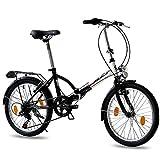 KCP 20 Zoll Faltrad Klapprad - Foldo Steel Weiss schwarz- Faltfahrrad für Herren und Damen - 20 Zoll klappbares Fahrrad mit 6 Gang Shimano Kettenschaltung - Folding City Bike
