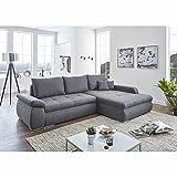 Ilay Ecksofa in grau, inkl. Bettfunktion und komfortabler Polsterung, gemütliches, modernes Sofa