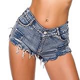 AFFGEQA Damen Basic Jeansshorts High Waist Bequeme Kurze Jeans Hosen Zerrissen Roher Saum Denim Bermuda Shorts Stretch Jeansshorts Hotpants Streetwear Strandshorts