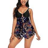 Lazzboy Tankini Damen Plus Size Badeanzug Sets Tummy Control Bademode Bikini Ring Top Bauchweg Große Größe Mit Badekleid Badeshorts Röckchen Schwimmkleid S-2XL (Schwarz,M)