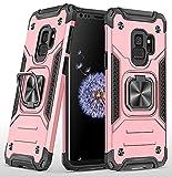 KKPAI Kompatibel mit Samsung Galaxy S9 Handyhülle, 360 ° drehbarer Ring-Ständer, robust, stoßfest, stoßfest, schützend, schlank, robust, kratzfest, leicht zu greifende Schutzhülle – Roségold