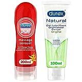 Durex Gels Gleitgel – Massage Ylang Ylang 200 ml – Naturgel 100 ml – 2 Stück (sinnliche und originale Massage)