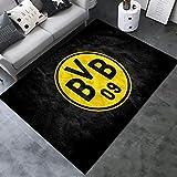 INSTUS Teppich Creative Einfach Kunst Dekoration Teppich Fußball Verein Logo Drucken Rutschfeste Matte Kinderzimmer Dekoration Fußbodenteppich/Dortm / 120 × 160 cm