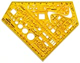 Aristo Studio Elektrowinkel (Schablone zum Zeichnen und Messen) transparent-gelb