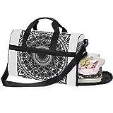 DEZIRO 45L Reisetasche Seesack Schwarz Ethnische Blume Mandala Große Weekender Tasche mit Schuhfach