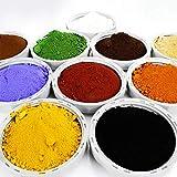 10 teiliges Proben Bastelset je 100g (24,85/kg) Pigmentpulver Eisenoxid Oxidfarbe Farbpigmente Trockenfarbe für Beton Gips Knetbeton - schwarz rot gelb weiß braun grün blau ocker orange hellbraun