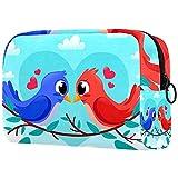 Beauty Make-up Taschen Tragbare Reise Kosmetiktasche Leder Multifunktionsetui mit Reißverschluss Kulturbeutel für Frauen Nettes Vogelpaar