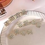 WJZB Einzigartige chinesische Zeichen Strass Ohrringe für Frauen chinesischen Stil Golden Gem Charms EleganteOhrstecker Ohrschmuck S925 Nadel