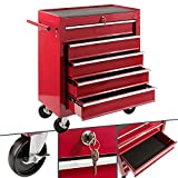 Arebos Werkstattwagen 5 Fächer | zentral abschließbar | inkl. Antirutschmatten | kugelgelagerte Schubladen | 2 Rollen mit Feststellbremse (rot)