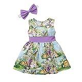 Mädchen Mode Kleid Bedrucktes Prinzessinkleid + Haarband Süßer Ärmellos Rock