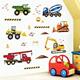 decalmile Wandtattoo Konstruktion Wandaufkleber Lastwagen Fahrzeuge Wandsticker Kinderzimmer Jungen Schlafzimmer Spielzimmer Wanddek