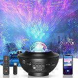 LED-Sternenhimmel Projektor,rotierender Wasserwellen-Sternprojektor ,Ferngesteuertes Nachtlicht,Farbwechselnder Musikplayer mit Bluetooth,Geeignet für Baby-Erwachsenenpartys und Weihnachtsgeschenke