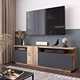 Yurupa TV Lowboard,Fernsehtisch,Unterschrank,Fernsehschrank,TV Schrank,TV Tisch,TV Möbel,TV Board ,Büro, Arbeitzimmer, Wohnzimmer Holzoptik FR6-AA