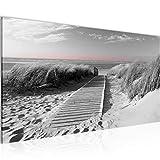 Wandbilder Strand 1 Teilig Modern Vlies Leinwand Wohnzimmer Flur Panorama Schwarz Weiss 604012c
