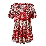 Qigxihkh Mädchen Damen Sommer bequem lässig süß vielseitig mehrfarbigMode Damen Bedruckt V-Ausschnitt Kurzarm Button Tops Pullover T-Shirt(Rot, S)