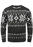 !Solid Norwig Herren Weihnachtspullover Norweger-Pullover Winter Strickpullover Grobstrick Pullover mit Rundhalsausschnitt, Größe:L, Farbe:Dark Grey Melange (8288)