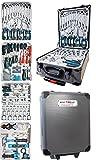 Kraftwelle Werkzeugtrolley Werkzeugkoffer mit 188 Teilen Werkzeugkiste rollbar Alu Koffer Umschaltknaarre Ratsche Werkzeugset versperrbar Ringratschenschlüssel
