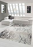 Designer Teppich Moderner Teppich Wollteppich Meliert Wohnzimmerteppich Wollteppich Ornament Grau Cream Taupe Größe 120x170 cm