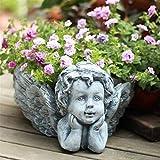 YYAI-HHJU Statue Pflanzer Hausgarten Dekor Skulptur Engel Blume Retro Nette Ted Kreative Blume Ted Ornamente Miniatur Fee Garten Dekore Kunsthandwerk Ted Kleiderbügel