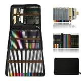 Aquarell Bleistifte,Buntstifte Farbstifte Skizzieren Kunst Set,zeichnen zubehör set und federmäppchen groß,zeichnen bleistiftzeichnungen für Künstler Anfänger Schü