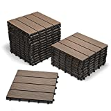 SAM Terrassen- Gartenfliese WPC Kunststoff, 22er Spar Set für 2m², Farbe Schoko, Bodenbelag mit Drainage, klick-F