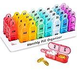Zoolion Monatspillendosen Organizer 2-mal täglich 31 Tage Tablettenbox Mit 32 Fächern AM PM für 4 Wochen Vitamine und Lebertran