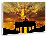 deyoli Brandenburger Tor mit Sonnenstrahlen Effekt: Zeichnung im Format: 60x40 als Leinwandbild, Motiv fertig gerahmt auf Echtholzrahmen, Hochwertiger Digitaldruck mit Rahmen, Kein Poster oder Plakat