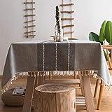 Smiry Stickerei-Quaste Tischdecke – Baumwolle Leinen staubdichte Tischdecke für Küche Esszimmer Party Zuhause Tischdekoration (quadratisch, 140 x 140 cm, grau)