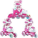 Croxer 3in1 Kinder Inlineskates/Triskates/Rollschuhe Missy verstellbar mit LED leuchtendem Rad (27-30 (16,5-19cm))