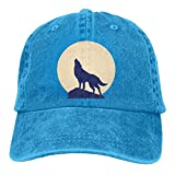 109 Unisex Baseballkappe, gewaschener Mond, Wolf, lässig, Denim, verstellbare Jagdmütze