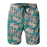 pants hats Sugar Skull Day of the Dead Teal 3D Druck Sommer Strand Trunks Surf Gym Shorts mit Taschen für Sommer Strand Urlaub Gr. XXL, einfarbig