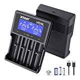 XTAR 2021 New VC4L 18650 Ladegerät 4 XTAR 4-Slot 18650 Batterieladegerät LCD-Display Universelles Ladegerät mit Typ C für Li-Ionen-Batterien 18650 22650 20700 16340 14500, AA AAA-Akkus