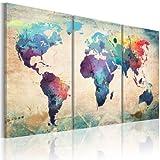 murando - Bilder Weltkarte 180x90 cm Vlies Leinwandbild 3 TLG Kunstdruck modern Wandbilder XXL Wanddekoration Design Wand Bild - Abstrakt Kontinente bunt 020113-50