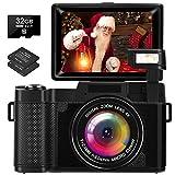LINNSE Digitalkamera 30MP 2.7K Full HD Kompaktkamera mit Flip Screen Fotoapparat Digitalkamera mit 32 GB SD-Karte und 2 Batterien Schwarz