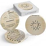 LumeeStar® Zahndose Milchzähne mit Namen zum Aufstellen | Zahnbox für Milchzähne Junge & Mädchen mit Display Funktion | Erinnerungsbox Baby Geschenke zur Geburt | Holz