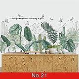 XZPQSSW Tapisserie Nordic Green Leaf Unkraut Wandaufkleber für Schlafzimmer Wohnzimmer Dekor 3D Fliesenaufkleber Vinyl Wandtattoos Tapete Home Decoration Tapisserie (Farbe : No.21, Size : Large)