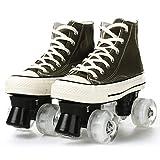 Gmsqj Adult Quad Rollschuhe Für Frauen Und Männer, High Top Canvas Schuhe Schnüren Doppelreihe 4 Räder Rollschuhe, Outdoor Unisex Skates Für Jungen Mädchen,Grün,EUR:38/UK:5