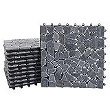 Mendler Steinfliese HWC-E18, Bodenfliese Steckfliese Balkon/Terrasse Naturstein, 11x je 30x30cm = 1m² - Mosaik Kiesel g