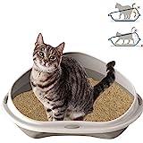 Smartweb Katzenklo 58cm x 48cm x 17cm Katzentoilette mit Anti Schmutzrand Ecktoilette für große und k