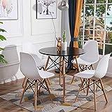 H.J WeDoo Essgruppe mit 4 Essstühlen, Moderner Matt Lackierter Küchen Esstisch Holz mit 4 Weiß Skandinavisch Stühle für Esszimmer Wohnzimmer Bü