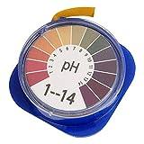 Usmato 1-14 PH-Testpapier, Wassertest für das Aquarium, Alkalisches Testpapier für den, Wasserlacktest von Garten Aquarienpflanzen, 1 Rolle 5 M