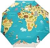 DXZ-Design Nette Karikatur Kinder Tier Weltkarte Auto Open Schließen Sonne Regen Regenschirm