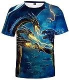 Takyojin Godzilla vs Kong T-Shirt Herren 3D Godzilla Tshirt mit King Kong Gojira Shirt Sommer Kurzarm Tshirt Blau King Ghidorah L