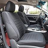 MATCC Auto-Sitzbezüge Vordersitze Schwarz Blau | Auto-Sitzschoner Set Universal für Fahrersitz & Beifahrer | Auto-Zubehör Innenraum